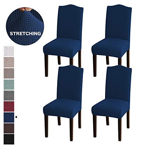 BellaHills Stretch Dining Chair Velvet Stoffbezüge waschbar abnehmbar Stuhlbezug Dining Chair Protector Cover für Esszimmer-Set von 4, Navy Stretch Velvet