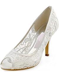Minitoo MinitooUK-MZ8232, Sandales Pour Femme - Blanc - White-7cm Heel, 42