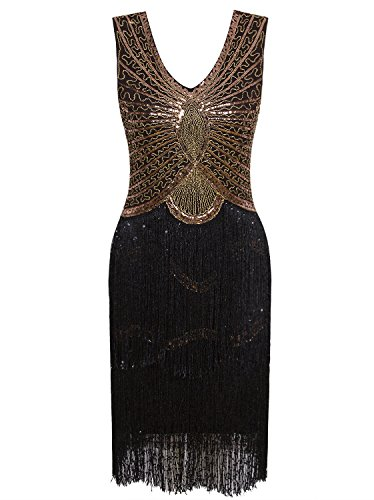 (Vijiv Damen 1920er Jahre Stil inspiriert Charleston Sequin Schicht Quaste Cocktail Flapper-Kleid s/uk8-10/eu36-38 schwarzes gold)