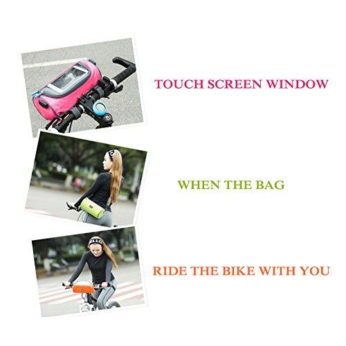 Fahrrad Top Tube Rahmen Tasche, Bike Lenkertasche mit abnehmbarer Schultergurt Wasserdichte Handy-Aufbewahrungstasche mit Telefon Touch-Fenster für Karte rose