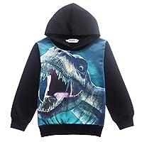 Tkria Kids Boys Hoody Dinosaur Printed Pullover Hoodie Child Long Sleeve Tops Casual Outdoor Hooded Sweatshirt 4 to 9 Years Black