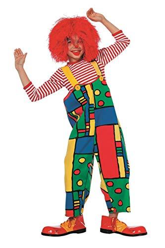Clown Kostüm Fantasy Kinder - The Fantasy Tailors Clown-Kostüm Kinder Jungen Clownshose bunt Regenbogen Karneval Fasching Hochwertige Verkleidung Größe 140 Multi