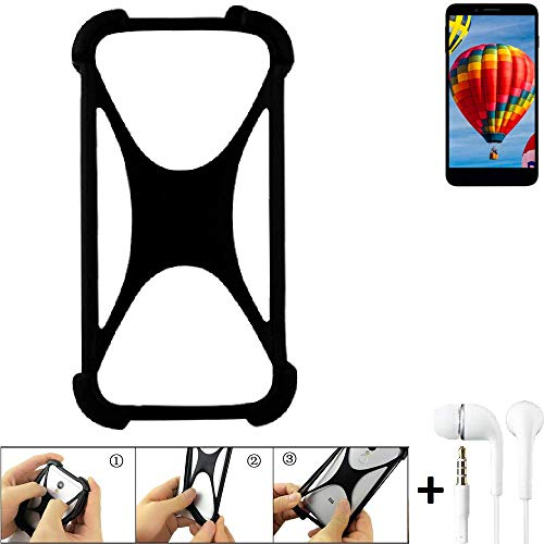 K-S-Trade Handyhülle für Vestel V3 5030 Schutzhülle Bumper Silikon Schutz Hülle Cover Case Silikoncase Silikonbumper TPU Softcase Smartphone, schwarz (1x), Headphones