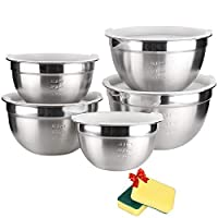 TUXWANG Stainless Steel Bowls Set - 5 in 1 Salad Bowls with Lids and Measurement Markings, Stackable for Storage