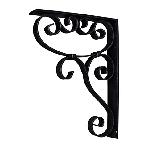 Home Decor MCOR5-BLK Metal (Iron) Scrolled Bar Bracket with Knot Detail - Black by duBois (Scrolled Bar Bracket)