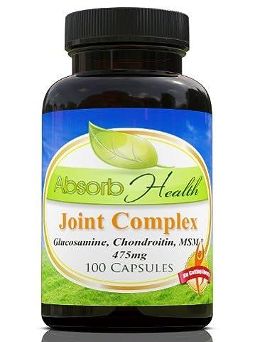 Complexe Complexe Glucosamine, Chondroïtine, MSM | 100 Capsules | 475mg par capsules