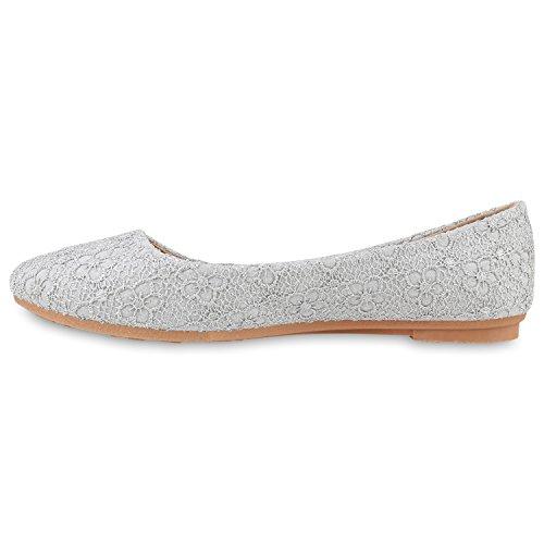 Klassische Damen Ballerinas | Lederoptik Flats | Schuhe Übergrößen | Flache Slipper | Spitze Prints Strass Grau Muster