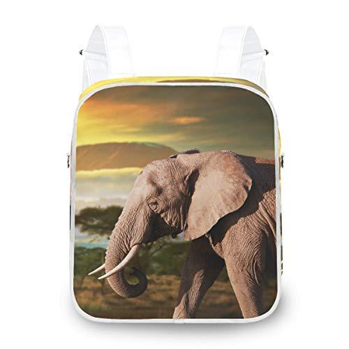 Twill Dual-Use Mochila School College Viaje Bolsa de Hombro Bolso Crossbody Elefantes...