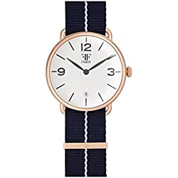 Faber No.2 Series F1008RG Watch Unisex rose gold Nato Strap Blue White