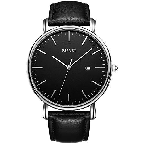 07d8978533f4 BUREI Reloj de Pulsera clásico para Hombres Estuche Ultra Fino Minimalista  Dial analógico con Fecha Movimiento