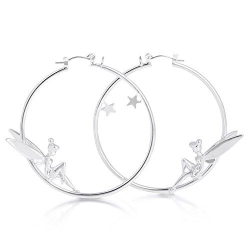 Pendientes de aro bañados en platino, diseño de Campanilla recostada y estrella, de Disney Couture