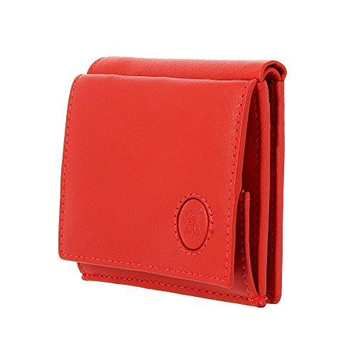 Petit Portefeuille pour Homme en Cuir avec Porte-Monnaie et Porte-Cartes de crédit de Nuvola Pelle Rouge