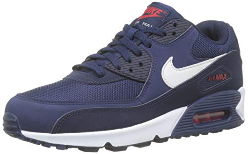 Nike Air Max 90 Essential, Chaussures de Gymnastique Homme, Multicolore (Midnight Navy/White/University Red...