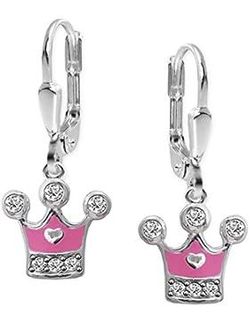 CLEVER SCHMUCK Silberne Ohrhänger 22 mm mit Prinzessinnen Krone 8 x 6 mm teils rosa lackiert mit Zirkonias und...