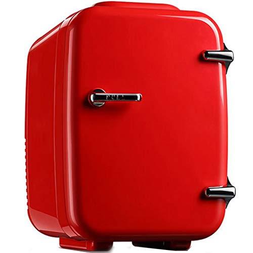 Mini Réfrigérateur, Réfrigération Chauffage Portable Frigo Boissons La Bière Réfrigéré 4L Petit Frigo convient Pour Voiture La Famille Dortoir Bureau-Rouge