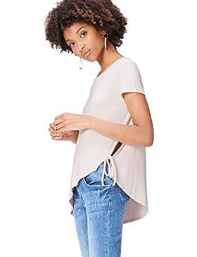 FIND T-Shirt Donna a Coste con Taglio Asimmetrico