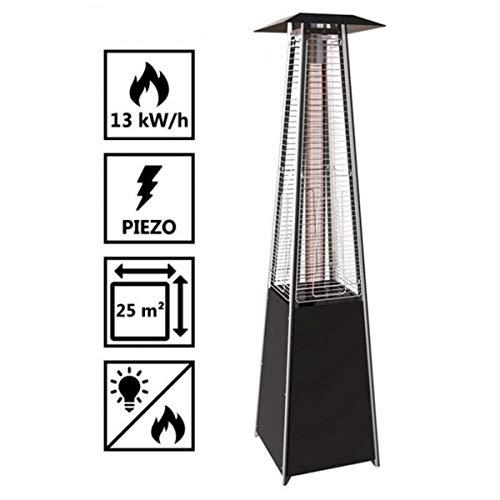 Heizpilz Gas Flamme 13kW Tube Glas Pyramidenform Heizung Außen für Terrasse + Kit Komplett Gas + Tragetasche; - 2