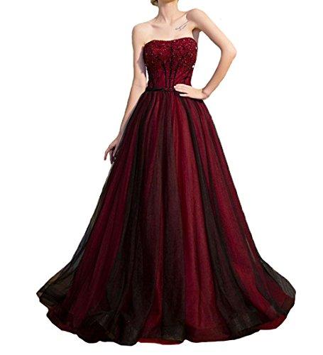 O.D.W Femme Longue Robe de MarišŠe Vintage Retro Robes de Gothique Rouge+Noir 2 44