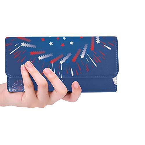 Einzigartige benutzerdefinierte Feier Labor Day Firework Theme Frauen Trifold Wallet Lange Geldbörse Kreditkarteninhaber Fall Handtasche