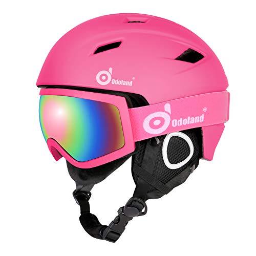 Odoland Skihelm und Skibrille Set, Snowboardhelm mit Snowboardbrille für Erwachsene und Kinder, Schneebrille UV 400 Schutz Windwiderstand Snowboard Brille zum Skifahren und Bergsteigen Rosa