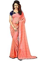 E Shop Online Women's Rangoli Silk Pearl Work Pink Sarees With Blouse (PITCH RANGOLI SILK PEARL)