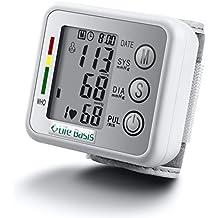 LifeBasis Tensiómetro de muñeca electrónico Monitor de Tensión Básico para Medir Tensión Arterial Ritmo Cardíaco Hipertensión Medidor de Tensión Arterial Precisa y automática