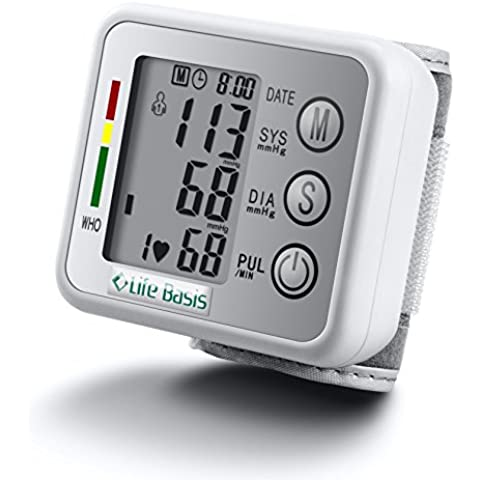 LifeBasis Tensiómetro de muñeca electrónico Monitor de Tensión Básico para Medir Tensión Arterial Ritmo Cardíaco Hipertensión Medidor de Tensión Arterial Precisa y