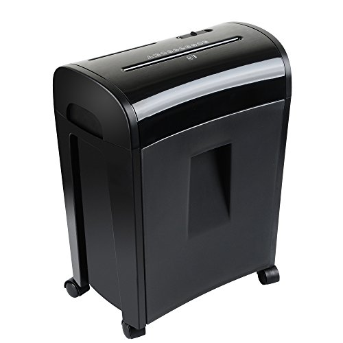 Professional shredder with waste basket for up to 10 sheets of paper, cross cut, particle cut for paper, CDs, credit cards security grade 4 moveable and extendable by zoomyo
