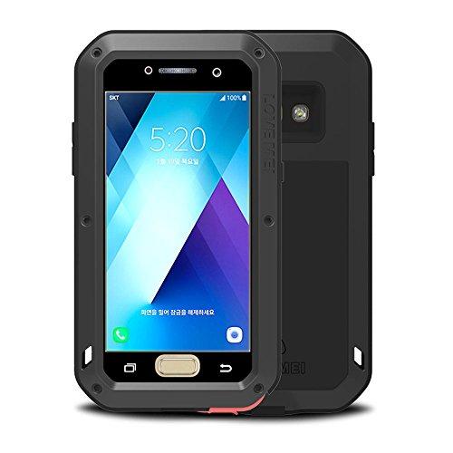 Custodia Galaxy A5 2017, Love Mei Potente Robusto Ibrido Alluminio Metallo Armatura Antiurto Antipolvere Cover per Samsung Galaxy A520 con Vetro temperato (Nero)