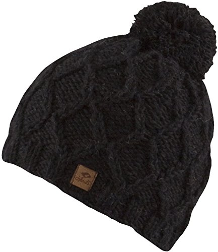 Feinzwirn FINJA -Strick Mütze mit Innenfleece Unisex Strickmütze mit Trendigen Muster und Bommel-Handmade in Nepal-100% Wolle (schwarz) -