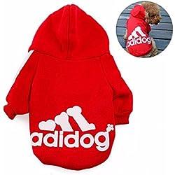 Ropa de Perros Abrigo Suéter de Algodón Caliente Suave con Capucha Nueva Camiseta Casual Adidog para Mascotas Perros Gatos,XS-Rojo