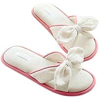 Fortuning's JDS Le donne delle ragazze delle signore cotone Casa pantofole elegante fiocco Bordatura Infradito flatform aperto Sandali dita dei