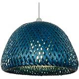 32cm Large - Pantalla grande para lámpara de techo, diseño de rejilla, color azul
