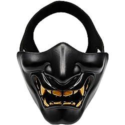Aolvo Masque Samouraï Démon Oni, masque demi-visage type Hannya Kabuki, idéal pour airsoft, bal masqué, fête, Halloween, jeux de guerre