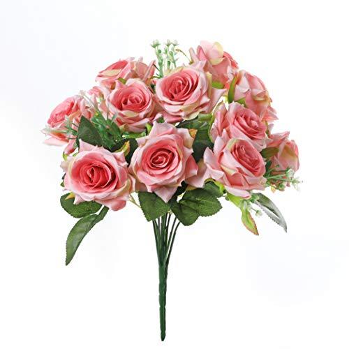 Rose artificiali di seta, sensazione reale al tocco, 12 fiori Pink
