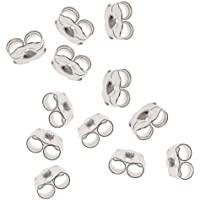 Beadaholique 5005150 12-Piece Sterling Earring Backs, 5.5mm, Silver