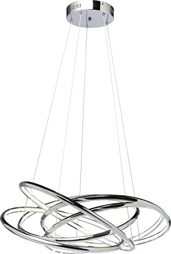 Kare 39162 Hängeleuchte Saturn LED Chrome Big, grosse, moderne Pendelleuchten/Pendellampen, Silber (H/B/T) 120x75x75cm -