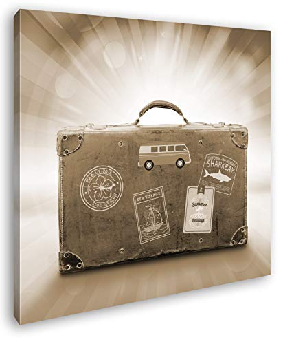 deyoli Reisekoffer aus Leder Format: 70x70 Effekt: Sepia als Leinwandbild, Motiv auf Echtholzrahmen, Hochwertiger Digitaldruck mit Rahmen, Kein Poster oder Plakat