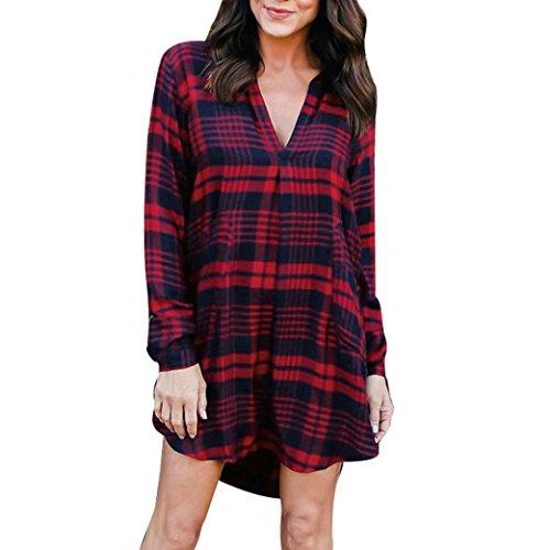 Damen Nachthemden Sexy V-Ausschnitt Streifen Plaid Kleid Plaid Long Sleeve Damen Beiläufiges Kleid Nachtwäsche Nachthemden (L/40, Rot) (Streifen-damen-flanell)