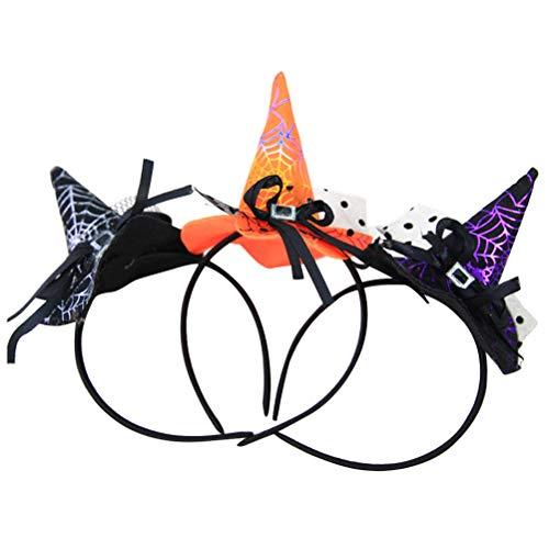 Kostüm Muster Niedliche Hexe - Toyandona Halloween Haarreif Kürbis Hexe Hut Spinnennetz Muster Stirnband für Karneval Masquarade Party 3 Stück