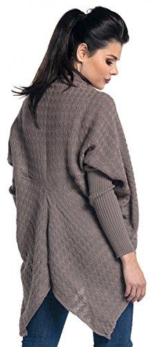 Zeta Ville - Cardigan lungo Poncho Mantella in maglia - donna - 337z Cappuccino
