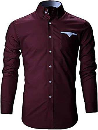 SRETAN Men's Cotton Casual Shirts for Men Full Sleeves (A Wine, 36)