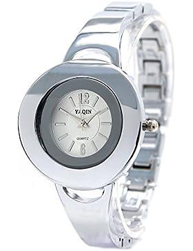 10fw916a rund PNP glänzend Silber Watchcase weiß Zifferblatt Damen Frauen Armband Armbanduhr