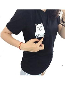 AZA Boutique T-Shirt/Tee mit iPhone-Tasche mit Mittelfinger zeigender Katze