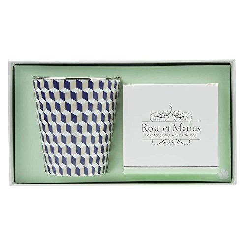 Bougie parfumée Rose et Marius tometo Bleu Motif Platine avec anciennes Rose/bleu Gobelet réutilisable avec platine véritable et rose garden – Bougie parfumée – 200 g