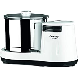 Butterfly Smart 150-Watt Table Top Wet Grinder with Coconut Scrapper Attachment (White and Grey)