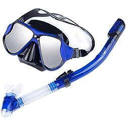 SFHGappareil respiratoire submersible plongée pleine sec sec miroir triple trésor costume anti - brouillard masque masque complet costume de submersibles adultes,blue