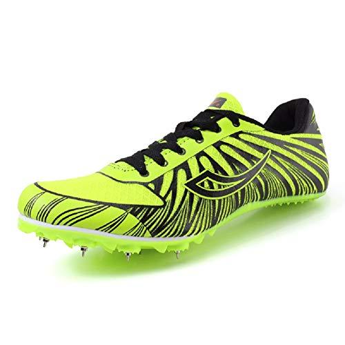 DDSHYNH Turnschuhe zum Laufen, Weiß Orange Track Spike Schuhe Leichte Leichtathletik Nägel Turnschuhe Laufschuhe,Green,EUR37 -