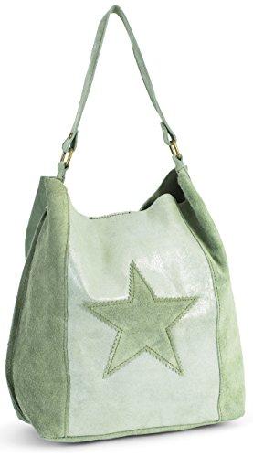 LIATALIA - Große Shopper Bag | Slouch Schultertasche mit Sternen im echtes italienisches Veloursleder - 'Serene'(Grünoliv)