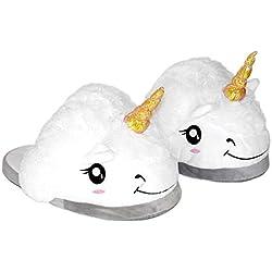Queque Shine Unisexo Unicornio Felpa Suave Calentar Zapatillas Zapatos Niño como Regalo, Talla Única EU25-33 (Blanco)